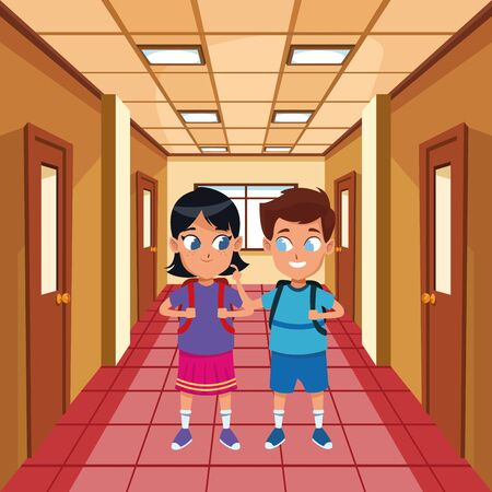 adorable cute children, girl with a boy school students wearing backpack happy childhood cartoon inside school hall scenery ,vector illustration graphic design.