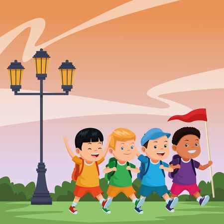 Happy kids with camping backpacks and flag ready to summer camp in nature scenery ,vector illustration graphic design.