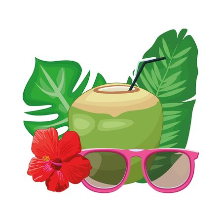 Coconut cocktail with sunglasses and flowers vector illustration graphic design