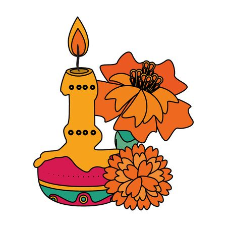 Mexico celebrations candle and flowers cartoons vector illustration graphic design  イラスト・ベクター素材