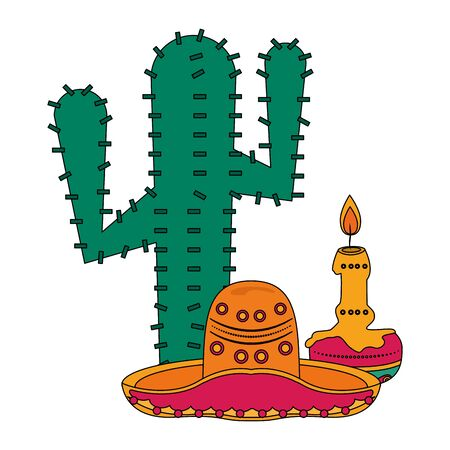Mexico celebrations cactus mariachi hat and candle cartoons vector illustration graphic design