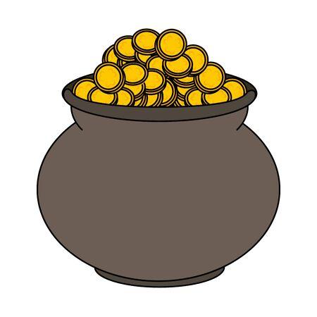 saint patricks day irish tradition golden coins pot cartoon vector illustration graphic design Ilustrace