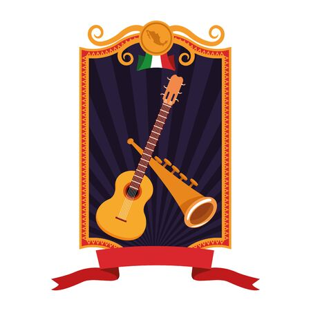 guitar and trumpet icon cartoon with square frame, ribbon banner and mexican flag over the sand with palms vector illustration graphic design Иллюстрация