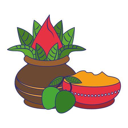 Ugadi festival offering flowers pot with mangos cartoons vector illustration graphic design