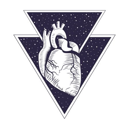 realistic heart drawn in black and white tattoo icon into two triangles vector illustration graphic design