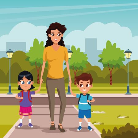 the first day of class and mother and children in nature vector illustration graphic design
