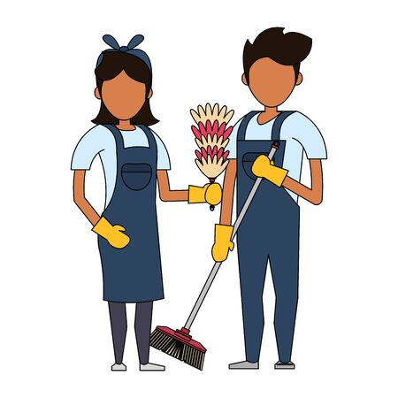 Cleaners workers smiling with cleaning toilet brush and cobweb vector illustration graphic design.