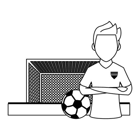 Soccer player with arms crossed and ball on playfield with goal cartoon vector illustration graphic design