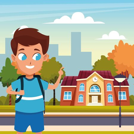 back to school with happiness and smiling children at school vector illustration graphic design