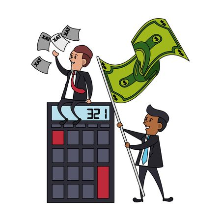state government taxes business, executive business men managing personal saving money finances cartoon vector illustration graphic design 矢量图像