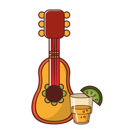 mexico culture and foods cartoons glass lemon cut on the edge and mariachi guitar vector illustration graphic design