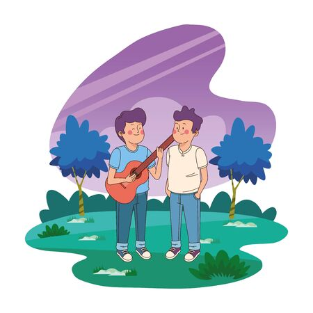 Teenagers friends boys playing guitar and singing in the nature park with trees, landscape scenery ,vector illustration graphic design.