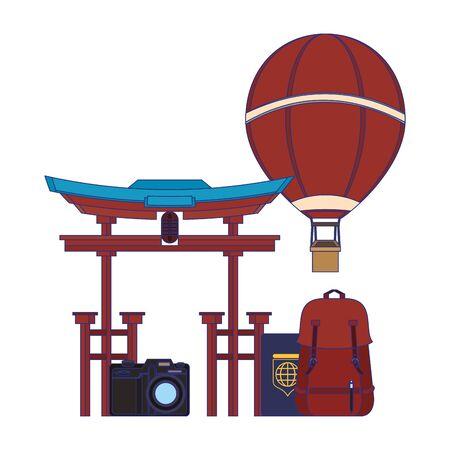 Travel vacations china entrance backpack passport hot air balloon and camera cartoons