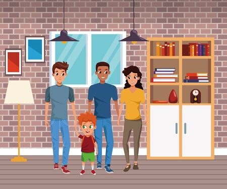 Family young fathers and mothers parents with childrens holding school backpacks cartoon inside home with furniture background vector illustration graphic design