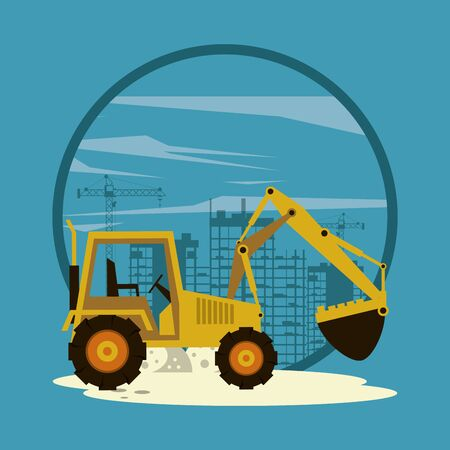 Excavator in construction zone with machinery scenery, under construction and buildings. vector illustration graphic design