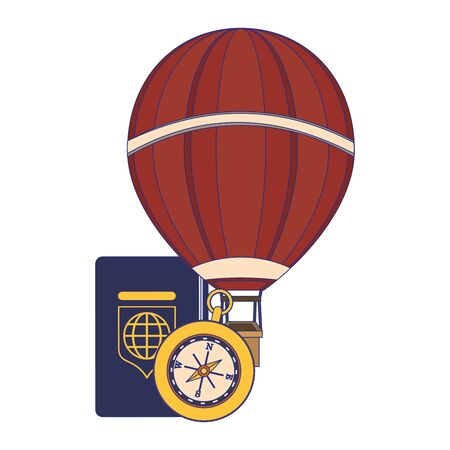 Travel vacations and summer passport with hot air balloon and compass cartoons