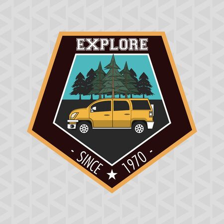 Camping explore summer patch emblem car on highway vector illustration graphic design Banque d'images - 129747989
