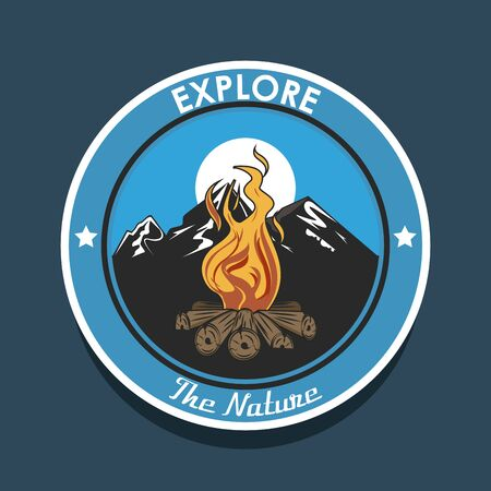 Camping explore summer patch emblem bonfire in mountains on blue background vector illustration graphic design Stok Fotoğraf - 129747993