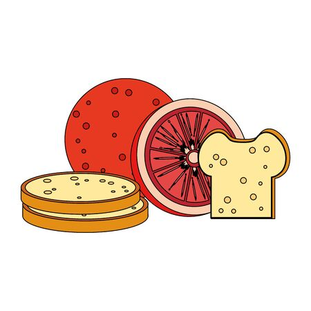 Healthy food and delicious ingredients grapefruit and bread vector illustration graphic design