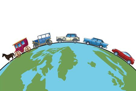 Evolution of vehicles and transport cars and horse carriage on world vector illustration graphic design. Banque d'images - 129748069