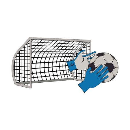 Soccer football sport game goalkeeper glove whit ball and goal vector illustration graphic design