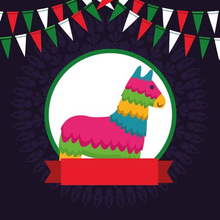 mexican traditional culture with horse pinata icon cartoon in round icon with ribbon banner and pendants vector illustration graphic design