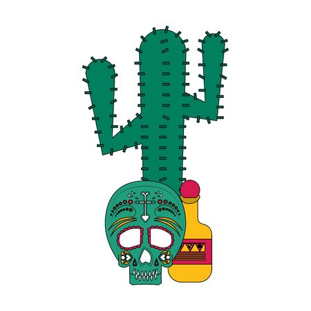 Mexico celebrations cactus skull and tequila bottle cartoons vector illustration graphic design