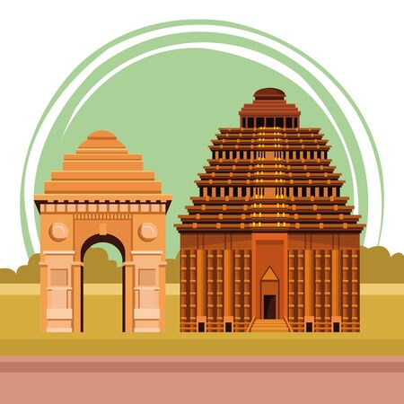 indian building monuments with hawa mahal icon cartoon over the sand in the desert with building skyscraper and cityscape silhouette vector illustration graphic design 일러스트
