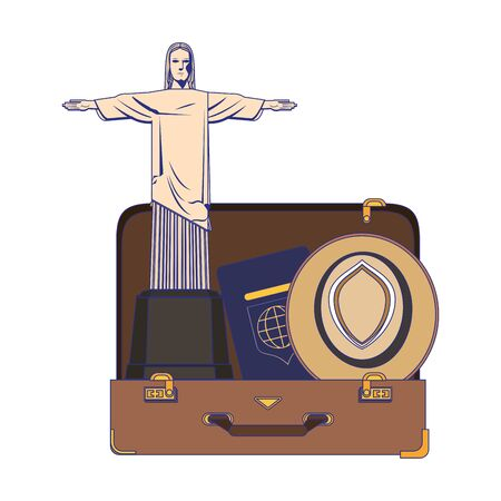 Travel vacations and summer suitcase open with passport hat and redeemer christ cartoons
