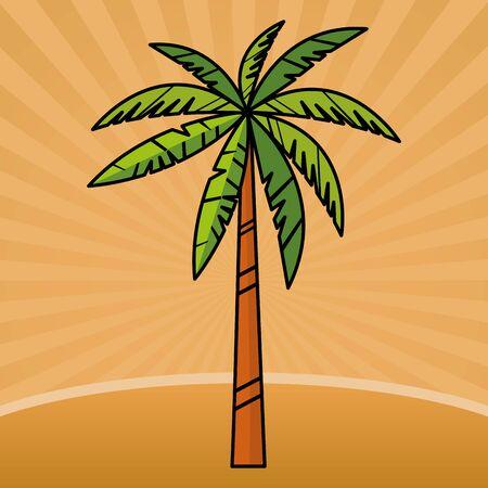 Palm beach tree nature cartoon vector illustration graphic design Ilustrace
