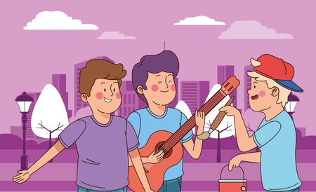 Teenagers friends playing guitar and paintig with brush and paint bucket in the city park, urban cityscape scenery background ,vector illustration graphic design.
