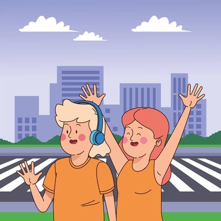 Teenagers friends smiling and greeting with cool clothes and accesories in the city scenery, urban scenery ,vector illustration.