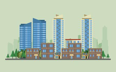 Urban buildings with cityscape horizontal scenery banner vector illustration graphic design Vektorgrafik