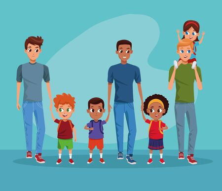 the first day of class and fathers and children in background blue vector illustration graphic design Illusztráció