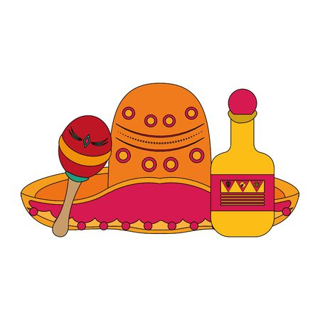 Mexico mariachi hat and maracas with tequila bottle celebrations cartoons vector illustration graphic design  イラスト・ベクター素材