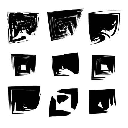 abstract paint brush stroke black grungy ink strains cartoon vector illustration graphic design Stockfoto - 129748164