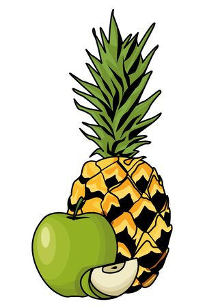 Fresh and delicious tropical pineapple and apple fruits vector illustration graphic design
