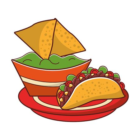 mexico culture and foods cartoons tacos on plate and guacamole also nachos vector illustration graphic design