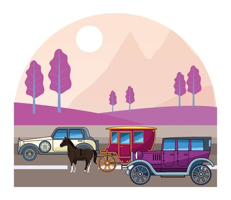 Classic cars and antique horse carriage, vintage and retro vehicles riding on highway landscape background vector illustration graphic design. Banque d'images - 129748168