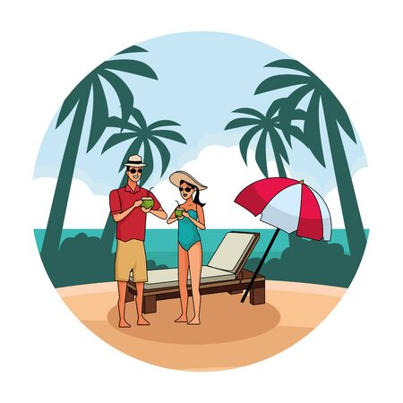 young couple enjoying summer time with sunchair and umbrella in beach scenery round background vector illustration graphic design Illustration