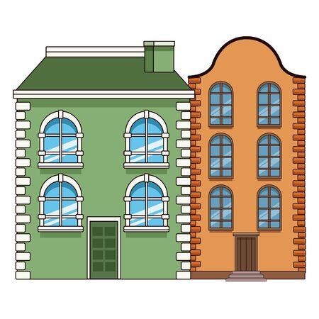 Edifici urbani e architettura della città, classici moderni e oggetti d'antiquariato immobili edifici illustrazione vettoriale graphic design.