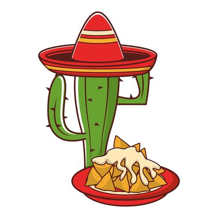 mexico culture and foods cartoons mariachi hat on cactus also nachos and melted cheese vector illustration graphic design