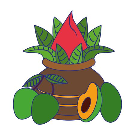 Ugadi festival offering flowers pot with avocado and mangos cartoons vector illustration graphic design Vectores