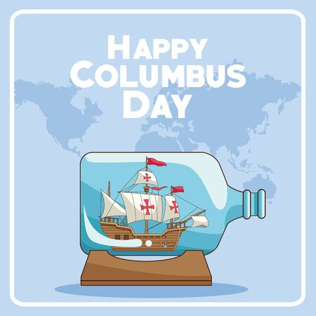 colombus columbus day card with antique navigation tools cartoons, america discovery celebration, travel and history. vector illustration graphic design Ilustrace