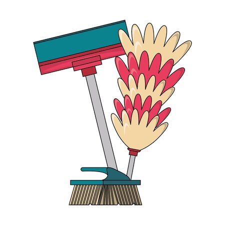 Cleaning equipment and products mop and cobweb brush vector illustration graphic design. Ilustração
