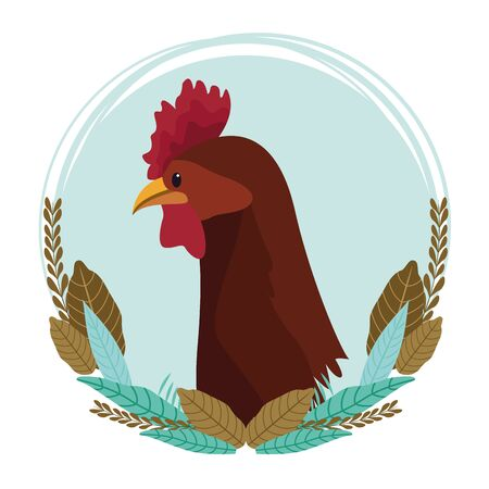 farm, animals and farmer hen head icon cartoon round icon with leaves decorative vector illustration graphic design