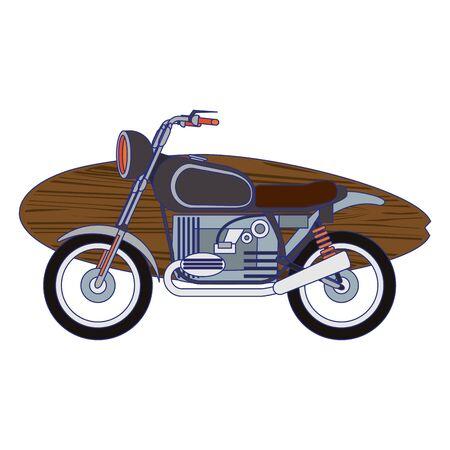Vintage motorcycle with surf tables cartoon vector illustration graphic design Иллюстрация