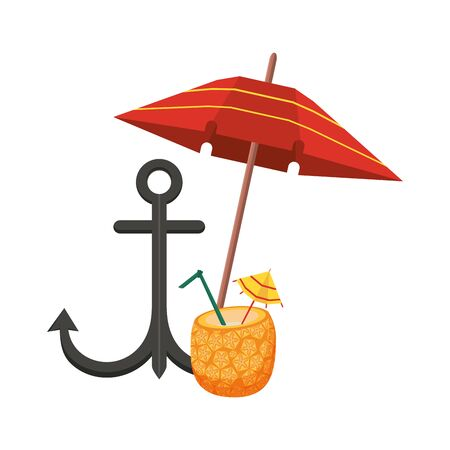 summer beach and vacation with beach umbrella, anchor and pineapple beverage icon cartoons vector illustration graphic design Иллюстрация