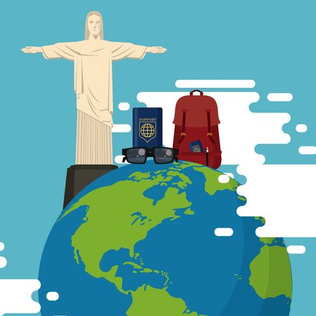 travel journey and tourism places with passport into a bag and christ the redeemer over a globe icon cartoon vector illustration graphic design
