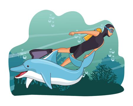 scuba diver avatar man diving with happy dolphin at the bottom of the sea with underwater vegatation vector illustration graphic design  イラスト・ベクター素材